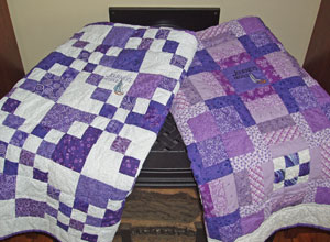 Lap quilts made by one of our volunteers.