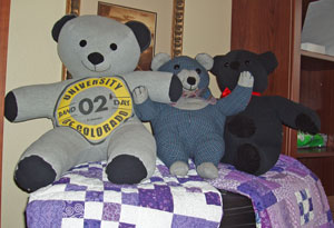 Teddy bears made from shirts of patients.